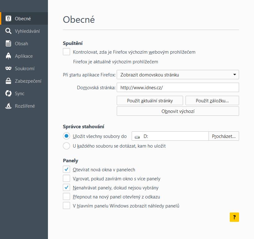 Jak nastavit iDNES.cz jako domovskou str�nku - Firefox 41